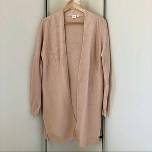 GAP Merino Wool Blend Long Pale Pink Cardigan - M